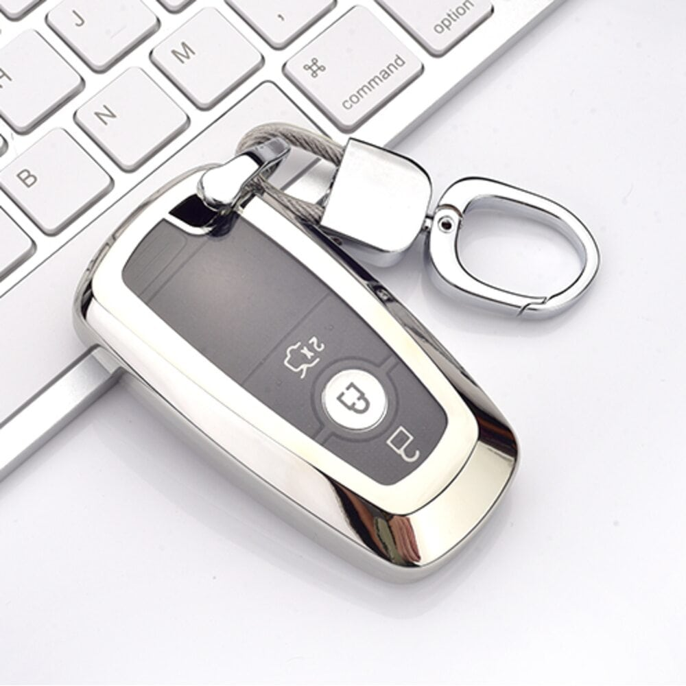 Protective Silver Car Key Cover Case For Ford High Quality TPU Soft Plastic
