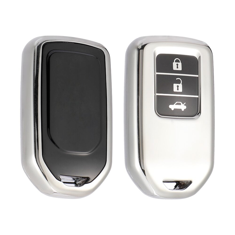 Protective Silver Car Key Cover Case For Honda High Quality TPU Soft Plastic 3 Buttons