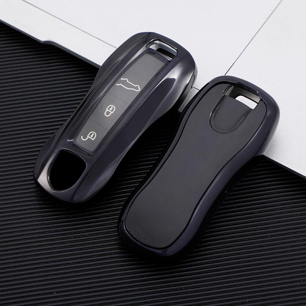 Protective Black Car Key Cover Case For Porsche High Quality TPU Soft Plastic