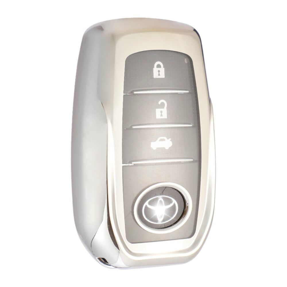 Protective Silver Car Key Cover Case For Toyota High Quality TPU Soft Plastic